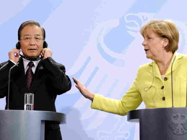 German Chancellor Angela Merkel and Chinese Prime Minister Wen Jiabao meeting in Berlin on June 28. During Europe's economic crisis, both China and the United States have stayed mostly on the sidelines.