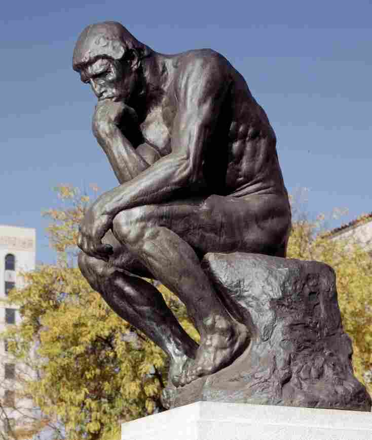 Auguste Rodin's The Thinker, shown outside the Detroit Institute of Arts, depicts a man engaged in what Daniel Kahneman might describe as System 2 — or slow, deliberative — thinking.