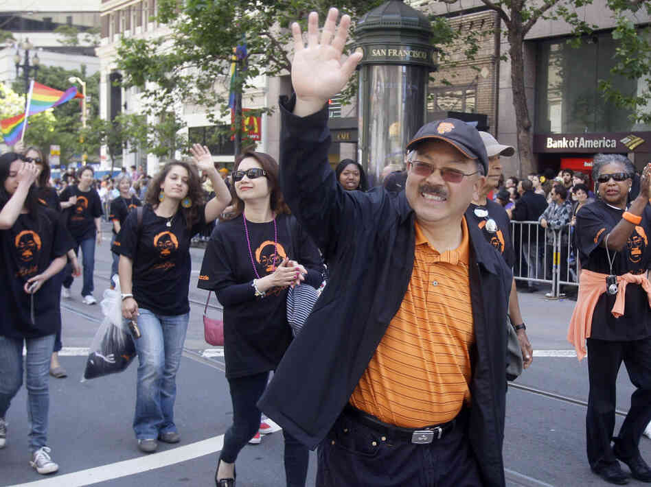 San Francisco Mayor Ed Lee marches in his city's annual Gay Pride parade June 26, 2011.