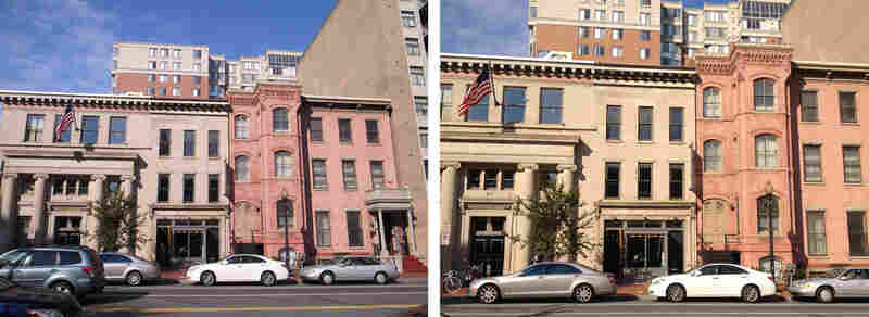 The following images are a comparison between a Ricoh GR Digital 8 megapixel digital camera (left) and an iPhone 4S (right). The images were taken at the same time and distance at Chinatown Coffee in Washington, D.C.