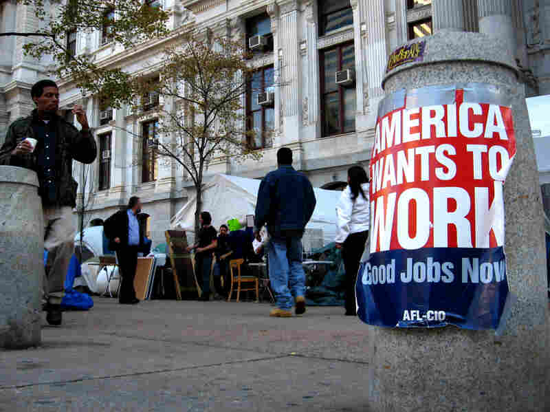 Union posters can be found all over the Occupy Philadelphia protest site near City Hall. Protesters and local union leaders meet regularly to discuss tactics and how to involve labor.