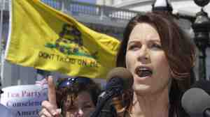"Rep. Michele Bachmann of  Minnesota speaks at an Americans for Prosperity ""Cut Spending Now"" rally on Capitol Hill in April. Bachmann built a Tea Party base before launching her White House run."