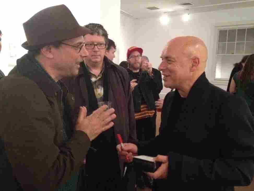 Bob Boilen with Brian Eno at Moogfest 2011