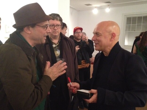 Bob Boilen with Brian Eno at Moogfest 2011