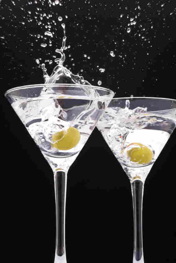 two splashing glasses