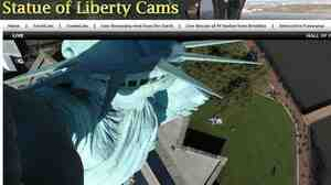 The view from above at the Statue of Liberty, where webcams were turned on today.