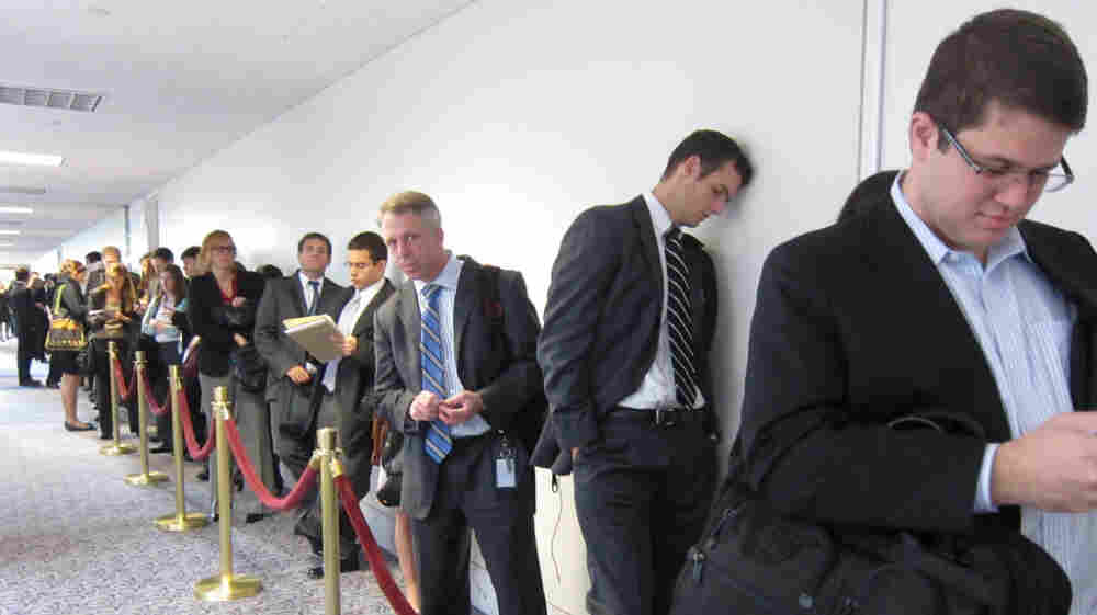 The line for seating in the hearing room of the supercommittee's meeting on Wednesday. An NPR review found that 619 separate interest groups have reported lobbying the group.
