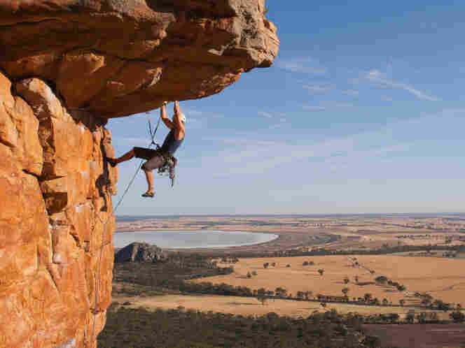 A man rock climbing.