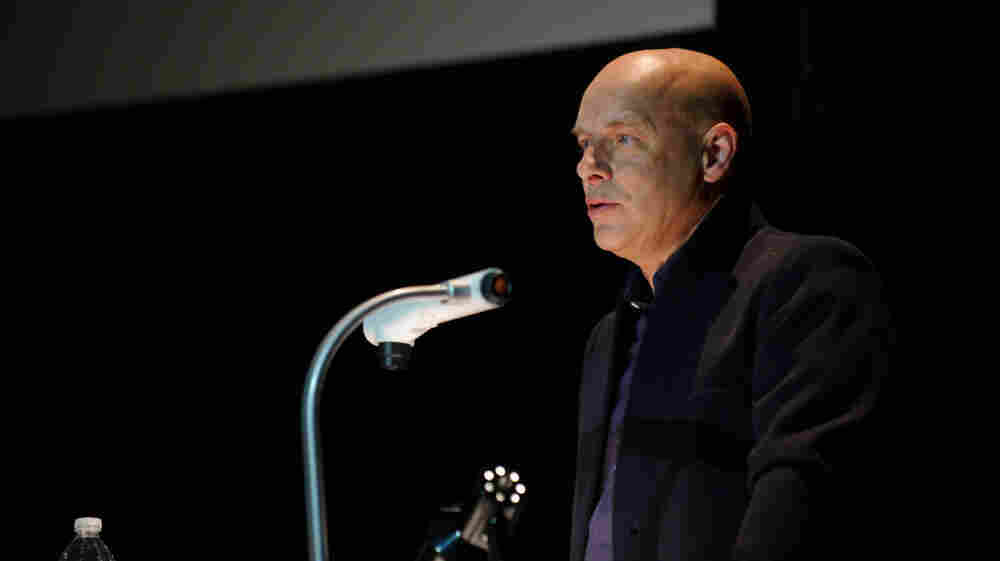"Brian Eno on stage during his ""Illustrated Talk"" at Moogfest 2011."