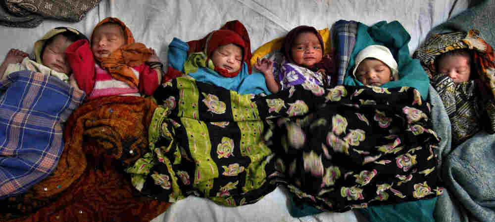 Newborns lie together at a district women's hospital in Allahabad, in India's most populous state of Uttar Pradesh. Fifty-one babies are born in India every minute.