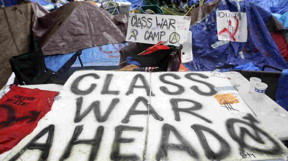 Tents pitched at the Occupy Wall Street encampment at Zuccotti Park in New York. The protests are part of a growing distrust in America of government and public institutions.