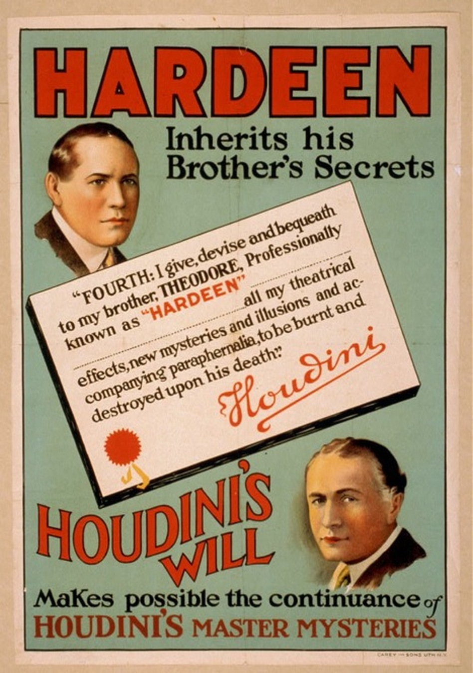 A poster from the 1930s declares that Hardeen would inherit his brother's secrets, making possible the continuance of Houdini's master mysteries after his death in 1926.  (NPR)