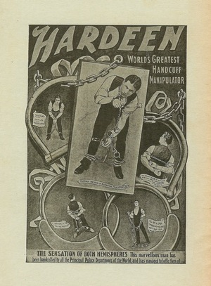 The back cover of Hardeen's self-published booklet.