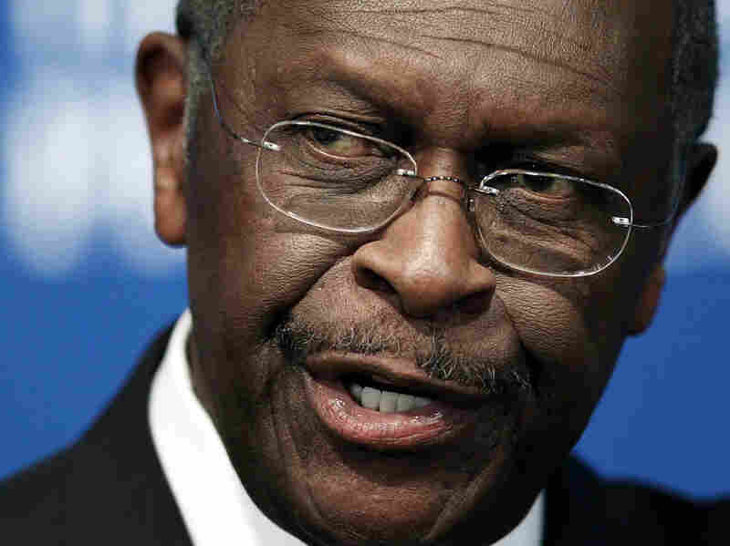 Republican presidential candidate Herman Cain speaks at the National Press Club on Monday.