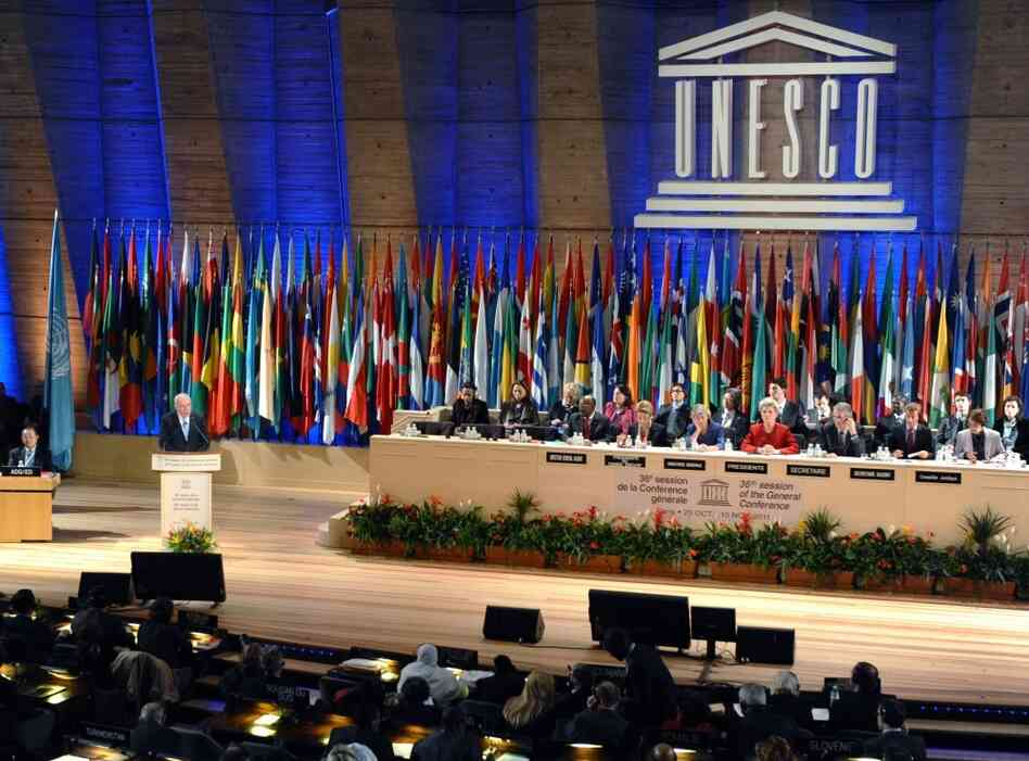 Foreign Minister of the Palestinian Authority, Riyad Al-Malki delivers a speech at the headquarters of UNESCO in Paris.