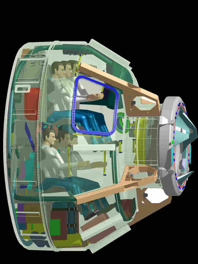 Boeing released this artist's rendering of its planned CST-100 which can carry a crew of seven.