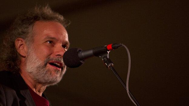 John Gorka performs on Mountain Stage in Grand Marais, Minn., at North House Folk School.