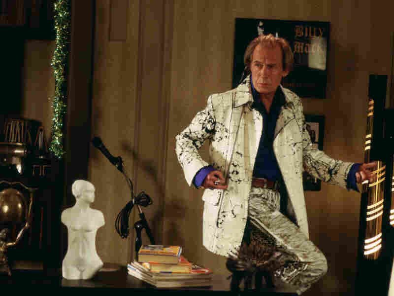 Bill Nighy playing aging rocker Billy Mack in the 2003 romantic comedy Love Actually.