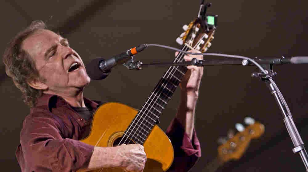 Michael Johnson performs on Mountain Stage in Grand Marais, Minn.