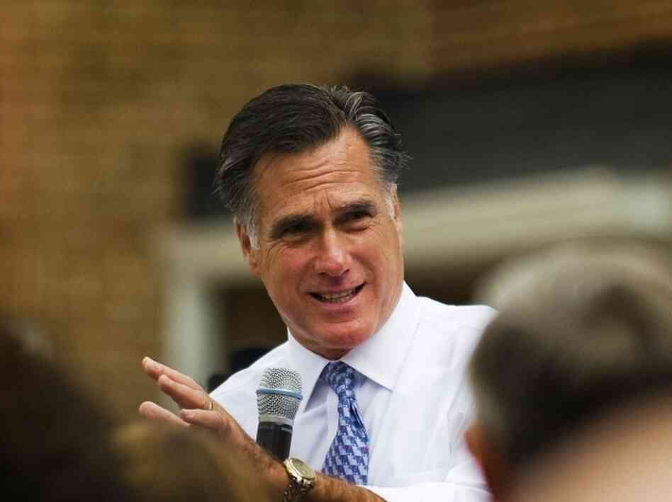 Republican presidential candidate former Governor Mitt Romney, R-MA, speaks at the Fairfax County Republican Committee headquarters in Fairfax, Virginia, Oct. 26, 2011.