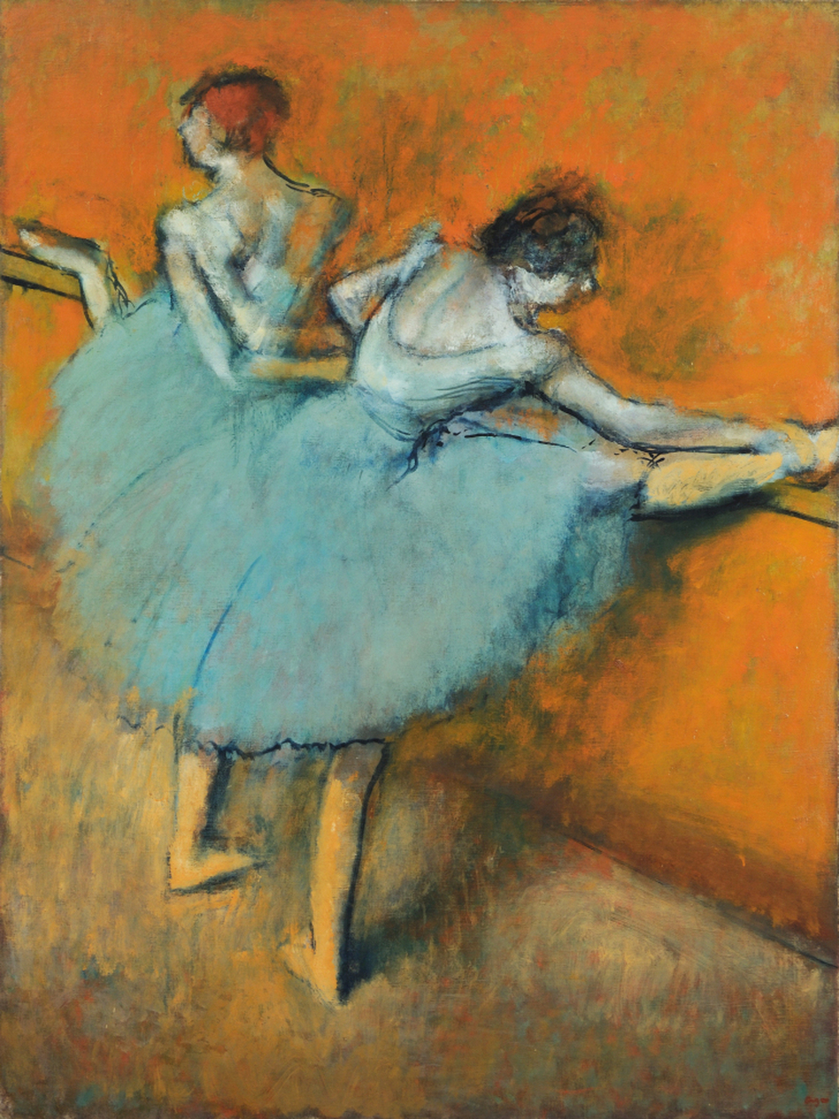 The focal point of the Phillips Collection's Degas exhibit is Dancers at the Barre -- a masterwork begun in the early 1880s and continuously revised by the artist for the next 20 years. (Phillips Collection)