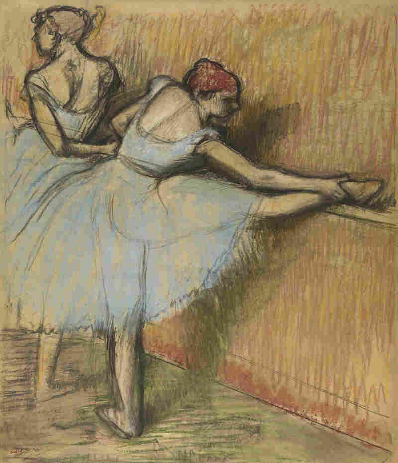 In a charcoal and pastel version of Dancers at the Barre, Degas tries out a variation on the dancers' head and leg positions.