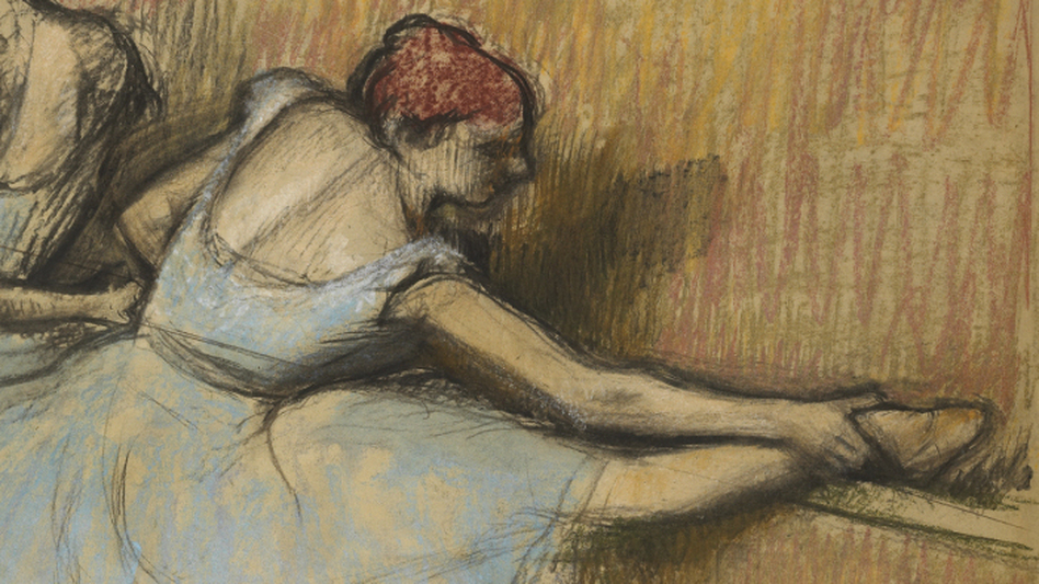 In a charcoal and pastel version of Dancers at the Barre, Degas tries out a variation on the dancers' head and leg positions. (National Gallery of Canada, Ottawa)