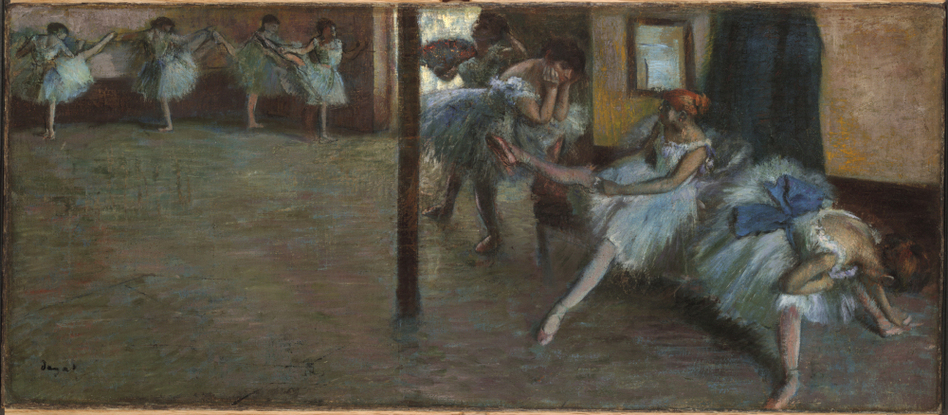 The Dailiness Of Dance: Edgar Degas rarely depicted dancers performing — he opted to capture the everyday moments of the ballerinas, such as in his 1885-1891 work Ballet Rehearsal. (Yale University Art Gallery)