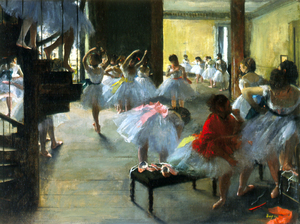 Vibrant colors help highlight the depth of field in Degas' 1873 oil on canvas, The Dance Class.