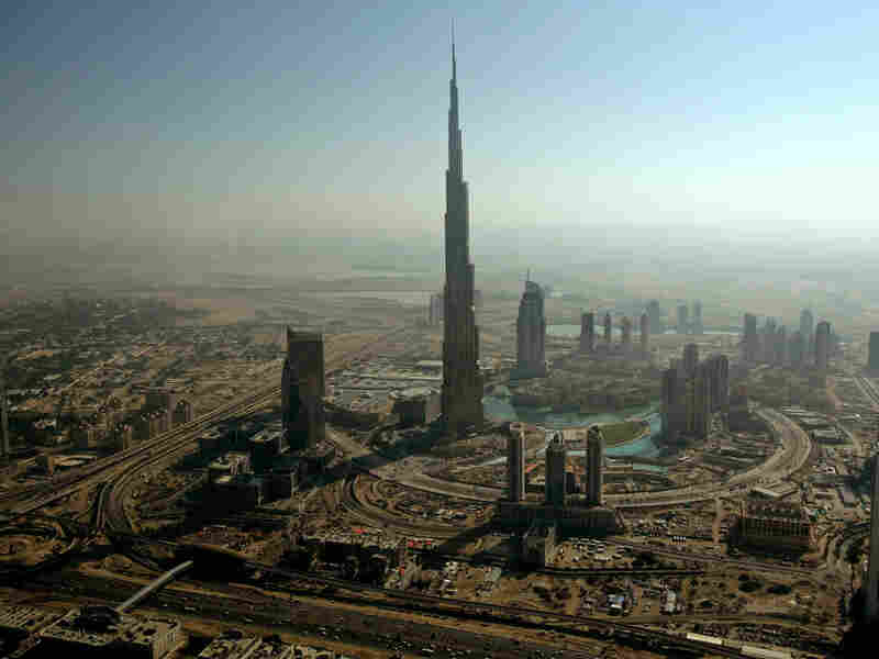 An aerial view shows Burj Dubai, the world's tallest tower, in Dubai. The city has succeeded in attracting wealthy Persian Gulf elites.