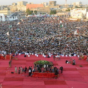 The population of Karachi, Pakistan, has been boosted by a new influx of young people. And now the city, seen here during a   political rally in January, is making a bid to attract global elites.