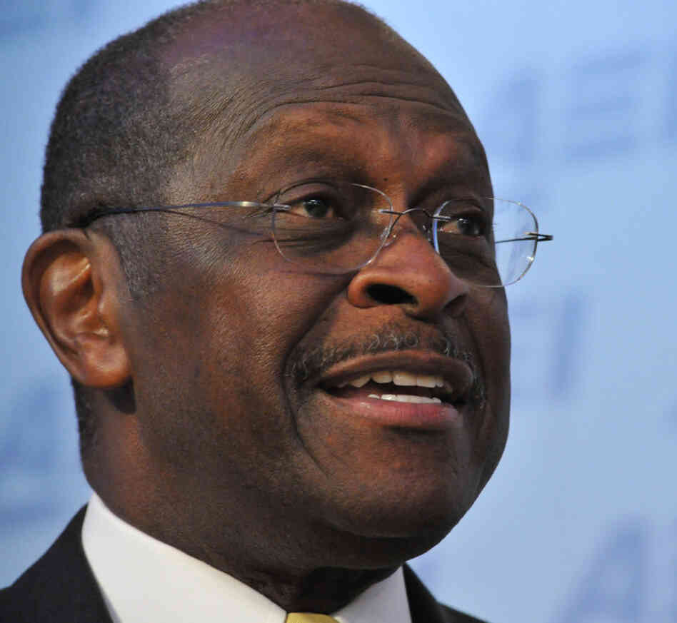 Republican presidential contender Herman Cain during an appearance at the American Enterprise Institute on Monday.