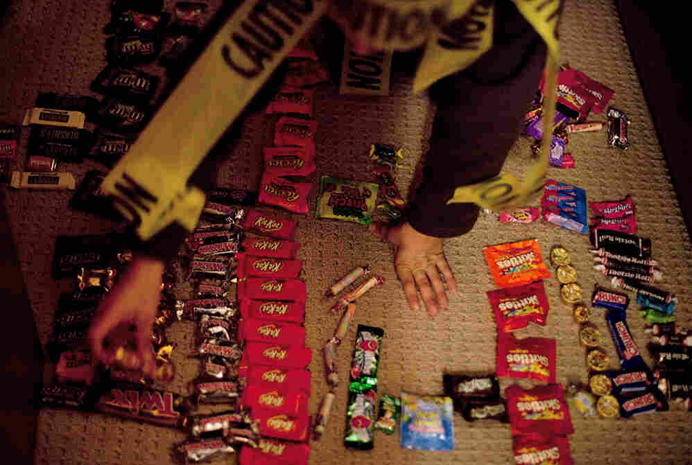 """Ben Wallach's """"candy shop"""" of recently acquired Halloween sweets is open for business."""