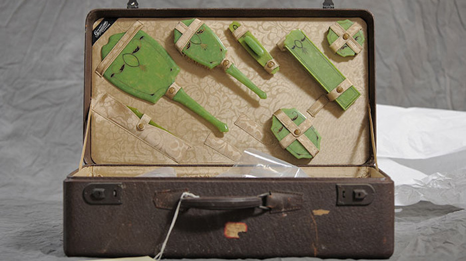 Freda Bowker suitcase, part of the New York State Museum collection of suitcases from the Willard Asylum (Jon Crispin)