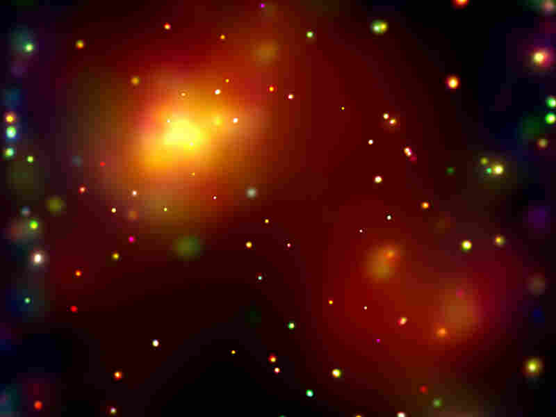 A massive galaxy cluster about 3 billion light years from Earth.
