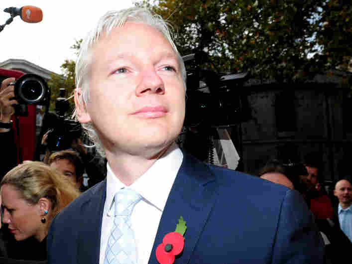 WikiLeaks founder Julian Assange as he arrived at London's High Court this morning (Nov. 2, 2011).