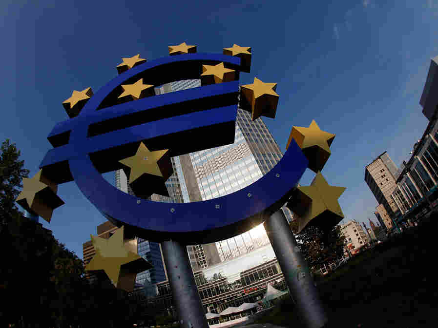 The symbol of the European common currency, the Euro stands at the headquarters of the European Central Bank.