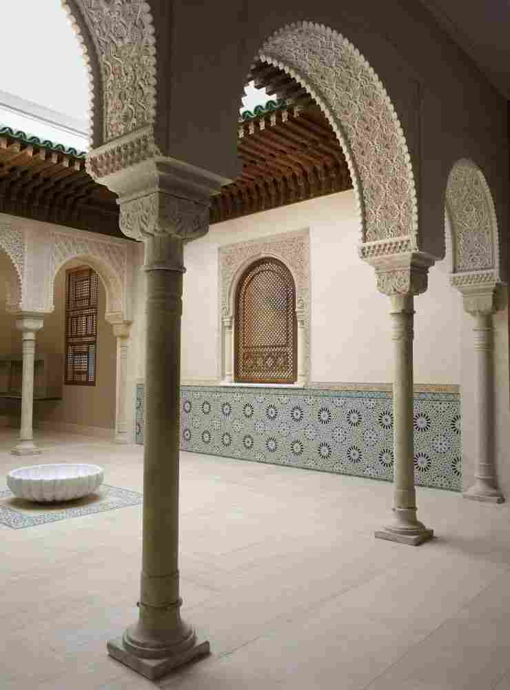 The Met's Patti Cadby Birch Court, or Moroccan Court, was inspired by late medieval Moroccan designs and constructed by contemporary craftsmen in Fez, Morocco.