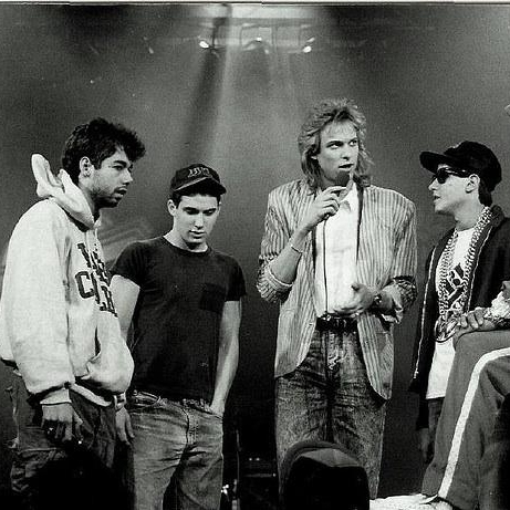 Adam Curry (center) was a VJ from 1987 to 1994 and interviewed acts like the Beastie Boys and Run-DMC.