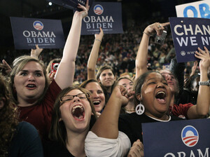 Millennials cheer for Democratic presidential candidate Barack Obama at a rally in Roanoke, Va., in 2008. Young voters are poised to play a key role in choosing the next president.
