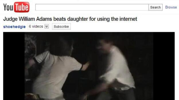 Hillary Adams (left) as her father was striking her with a belt. She set up a video camera to record what she says was one of many such beatings. (YouTube.com (warning, video is graphic))