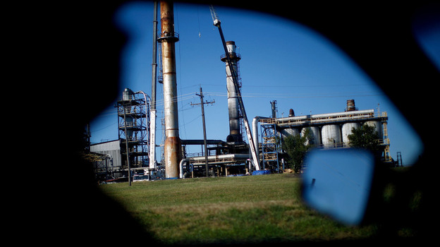 The Continental Carbon plant sits on the southern outskirts of Ponca City, Okla. Residents blamed the plant, which produces a black dust known as carbon black, for polluting their city. (NPR)