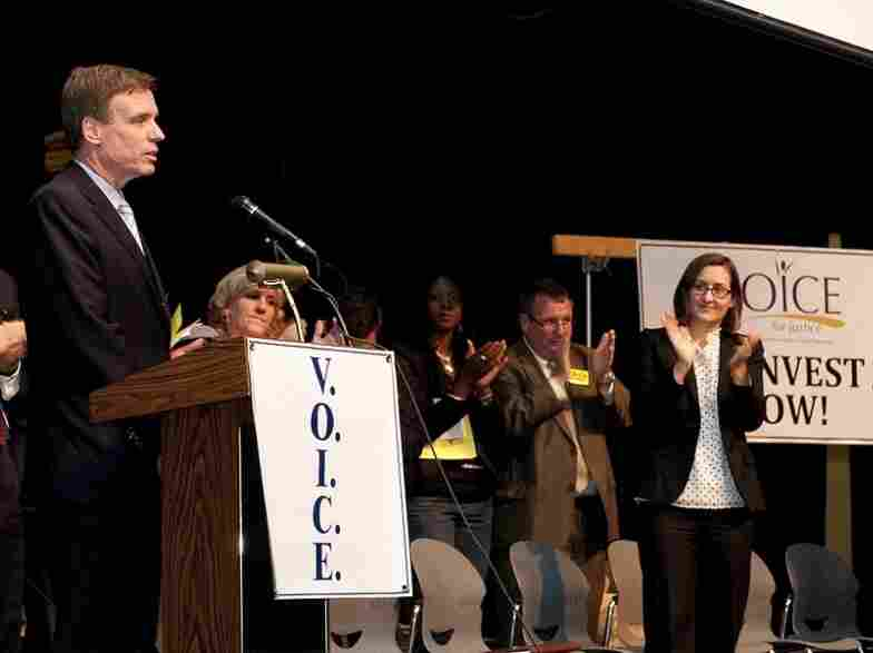 Sen. Mark Warner, D-Va., speaks at a town hall on foreclosure prevention in Woodbridge, Va., on Oct. 30.