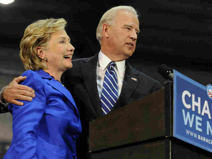 Democratic vice presidential candidate U.S. Senator Joe Biden (D-DE) (R) and U.S. Sen. Hillary Clinton (D-NY) (L) speak at a rally in support of then Democratic presidential nomineee U.S. Sen. Barack Obama (D-IL) on Oct. 11, 2008 in Scranton, Pennsylvania.