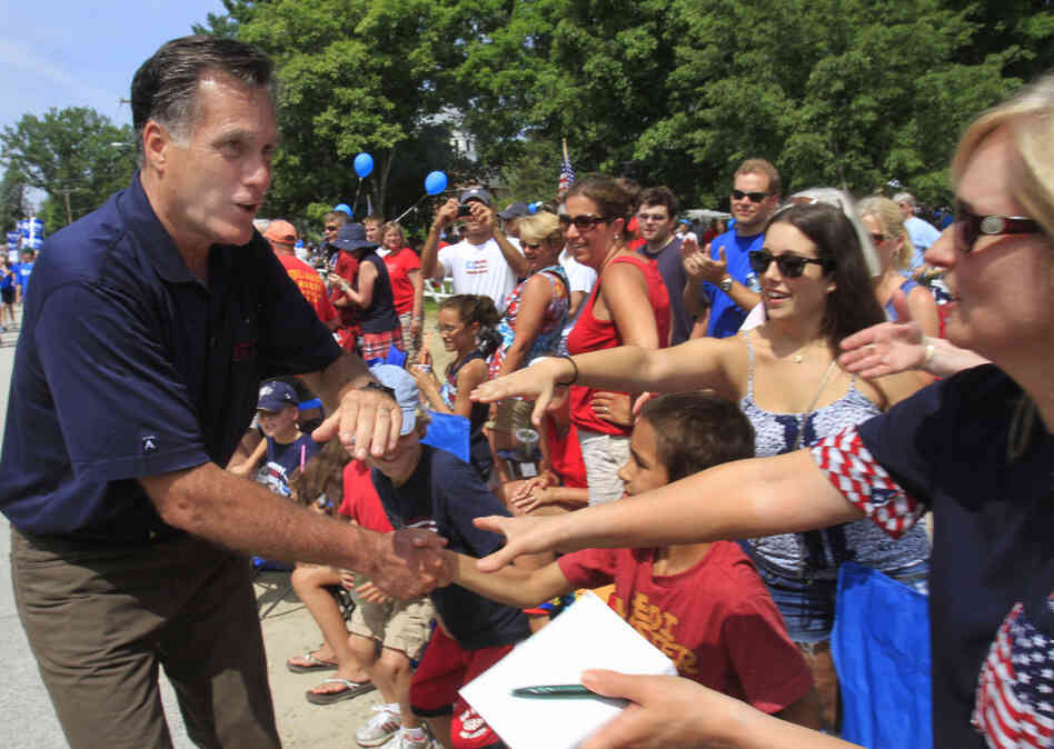 Republican presidential candidate and former Massachusetts Gov. Mitt Romney works the crowd as he marches in the Fourth of July parade in Amherst, N.H. Members of Generation X supported GOP candidates by a small margin in 201