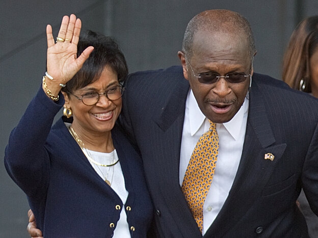 Gloria Cain, left, accompanies her husband Herman Cain as he announces his run as a Republican candidate for president in Atlanta on May 21.