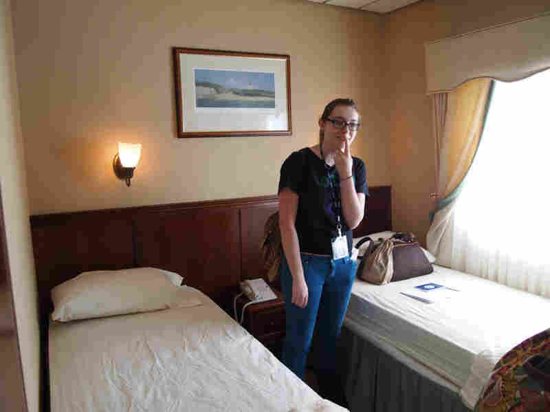 St. Mary's College student Mary Beth McAndrews in her new dorm room onboard the Sea Voyager.