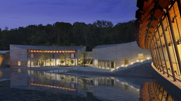 Of Art And Nature: A model shows one of the three ponds that will surround Crystal Bridges. The museum got its name from the two galleries that will actually serve as bridges over the ponds. Architect Moshe Safdie says his design is meant to help blend the experience of the museum's art with that of its natural surroundings.