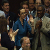 Aug. 1: Rep. Gabrielle Giffords (D-Ariz.) waves to her House colleagues after voting for a bill to raise the federal debt ceiling.