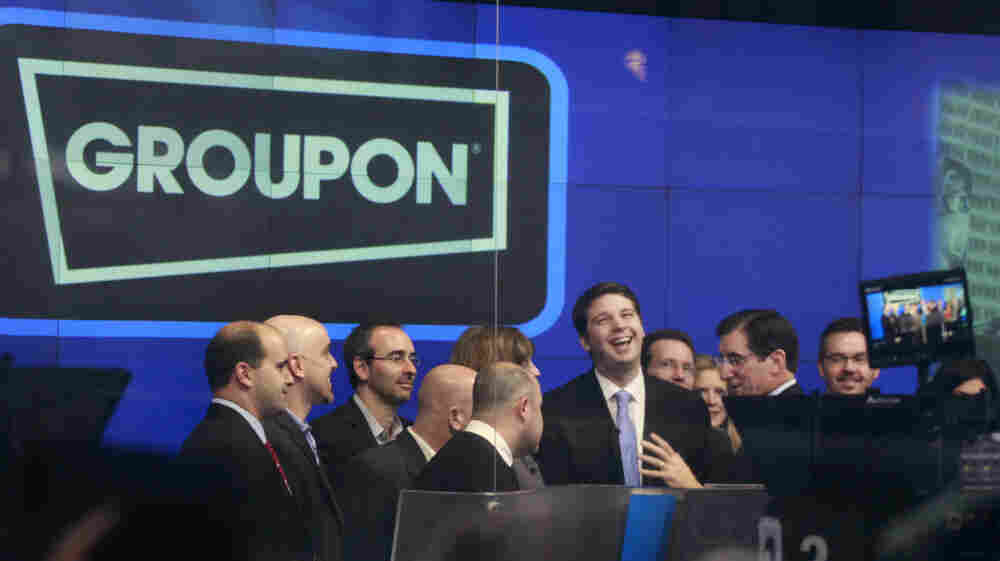 Andrew Mason, founder and CEO of Groupon, attends his company's IPO at Nasdaq in New York.